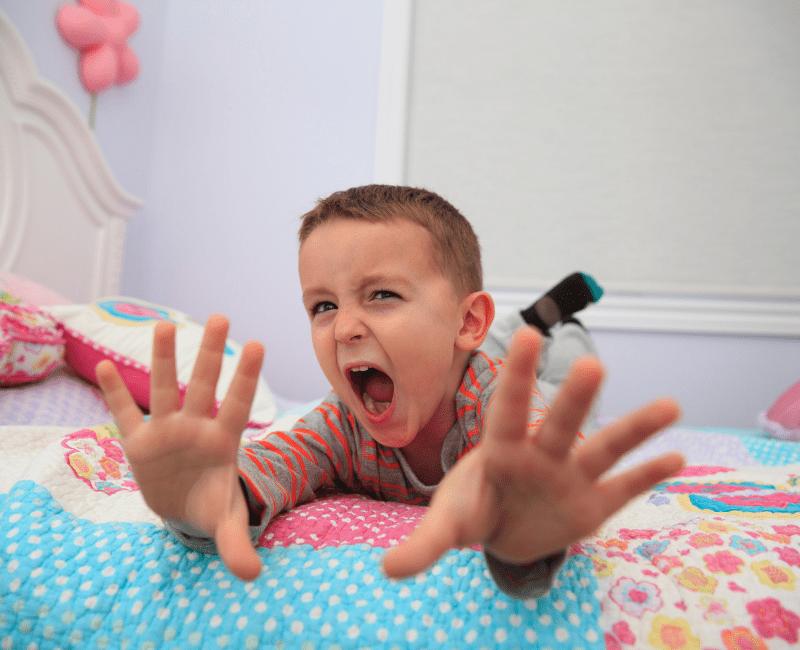 Impulsive Sleep Deprived Child Jumping on Bed